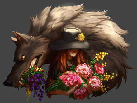 Фото Девушка в шляпе с букетом цветов и волк с цветами в пасти, by Jubilations
