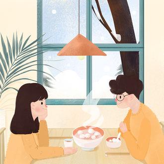 Фото Парень с девушкой сидят за столом