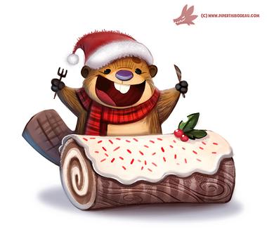 Фото Бебер и рождественское бревно-рулет, by Cryptid-Creations