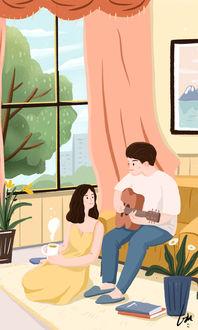 Фото Парень играет на гитаре перед девушкой, сидящей на полу