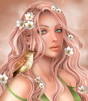 Фото Девушка с цветами на волосах и птичкой на плече, by Heszperia
