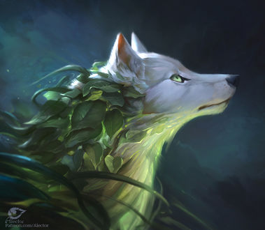 Фото Белый волк с зелеными листьями на шерсти, by AlectorFencer