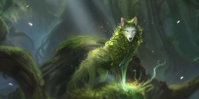 Фото Волк, шерсть которого покрывают листья, стоит на стволе дерева, by AlectorFencer