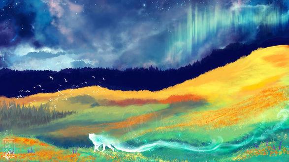 Фото Призрачный волк на фоне фантастической природы, by KovoWolf