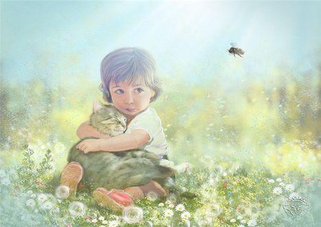 Фото Ребенок с кошкой сидит среди отцветших одуванчиков. Художник-иллюстратор Борис Аджиев