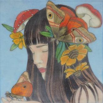 Фото Девушка с бабочками, цветами и грибами на голове, by Mary Alayne Thomas