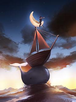 Фото Мальчик с подзорной трубой сидит на месяце над кораблем, который держится на ките, художник Cyril Rolando