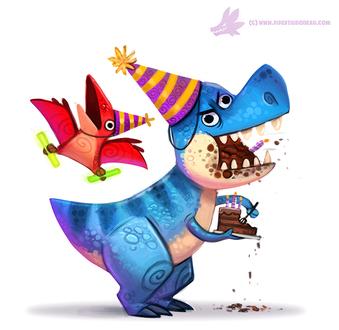 Фото Тираннозавр и птеродактиль празднуют день рождения, by Cryptid-Creations