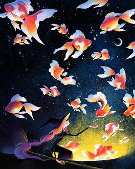 Фото Ведьмочка наколдовала золотых рыбок, by minayuyu