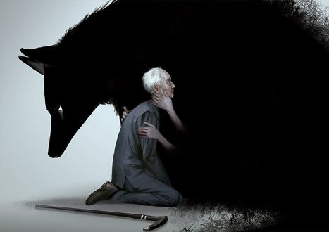 Фото Старик сидит перед черным волком, by 13033303