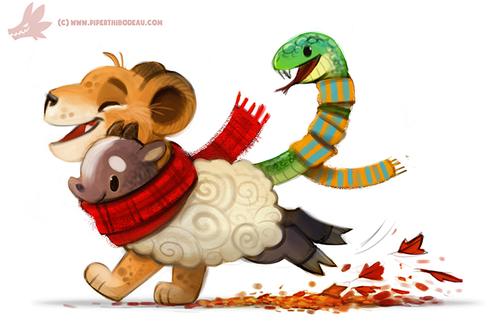 Фото Химера с красным шарфом бегут по осенним листьям, by Cryptid-Creations
