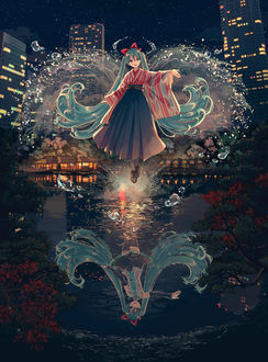 Фото Vocaloid Hatsune Miku / вокалоид Хацунэ Мику парит над водой