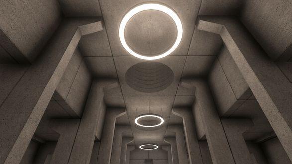 Фото Висящие на потолке люстры, рядом с проделанными в нем вентиляционными отверстиями, освещающие коридор, какого-то помещения / Из игры Fugue In Void разработчика Moshe Linke