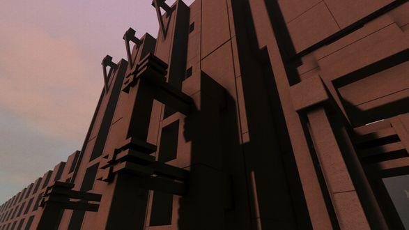Фото Абстрактное строение, построенное из различной формы блоков, на фоне вечернего неба / Из игры Fugue In Void разработчика Moshe Linke