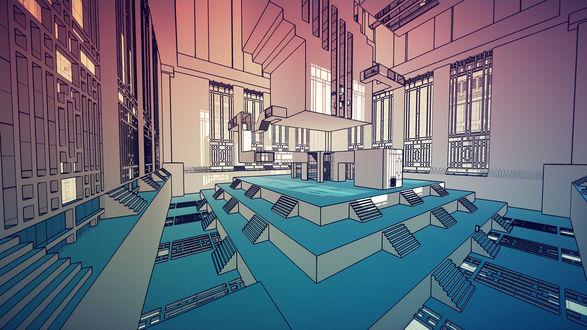 Фото Абстрактная комната, одного из помещений, со множеством окон и лестниц по разным сторонам, освещаемая лучами от солнца / Из игры Manifold Garden