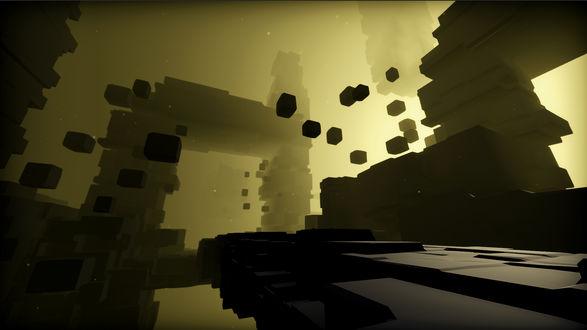 Фото Изображенное на темно-желтом фоне гигантское строение, построенное из различной формы блоков, парящее где-то в пространстве, вместе с отдельно летающими кубоблоками, из глубин которого пытается пробиться яркий свет / Из игры EGO