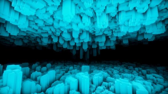 Фото Два изображенных на пространственном черном фоне гигантских абстрактных строения расположенных в верхней и нижней части данного пространства, построенных из ярко-голубых блоков различной формы / Из игры EGO