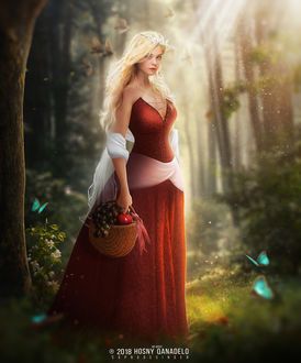 Фото Девушка - спящая красавица стоит в лесу, by Hosne Qanadelo
