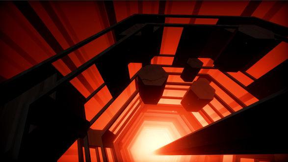 Фото Изображенное на красном фоне гигантское шестигранное строение, внутри которого парили отдельные шестигранные блоки, парящее где-то в пространстве, освещаемое ярким светом, проникавшим откуда-то снизу / Из игры EGO