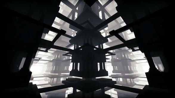 Фото Повторяющиеся по разным сторонам строения одинакового вида, изображенные на пространственном белом фоне / Из игры EGO