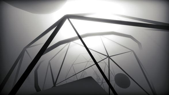 Фото Освещенная ярким белым светом откуда-то сверху, гигантская геометрическая фигура под названием икосаэдр, парившая где-то в пространстве, внутри которой находилась точно такая же фигура, в которой находилась еще одна точно такая же / Из игры EGO