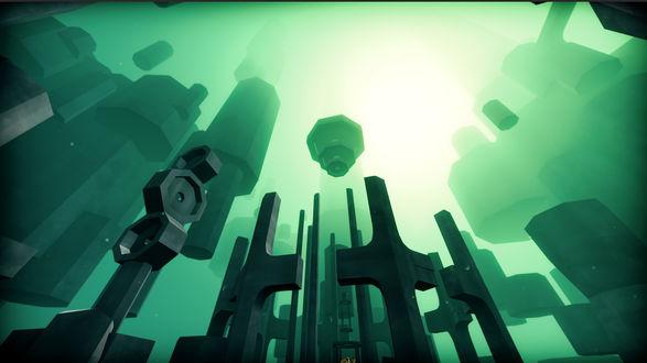 Фото Парящее где-то в пространстве огромное гигантское строение, построенное из шестигранных кубоблоков на ярко-зеленом фоне и освещаемое ярким светом, проникавшим откуда-то сверху / Из игры EGO