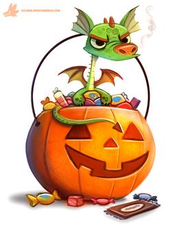 Фото Зеленый дракончик в корзинке с конфетами, by Cryptid-Creations