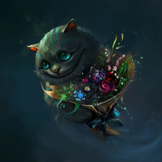 Фото Cheshire Cat / Чеширский Кот из фильма Alice in Wonderland / Алиса в стране чудес с букетом цветов, by SalamanDra-S