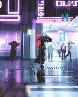 Фото Девушка с зонтом стоит под дождем на улице города, by snatti89