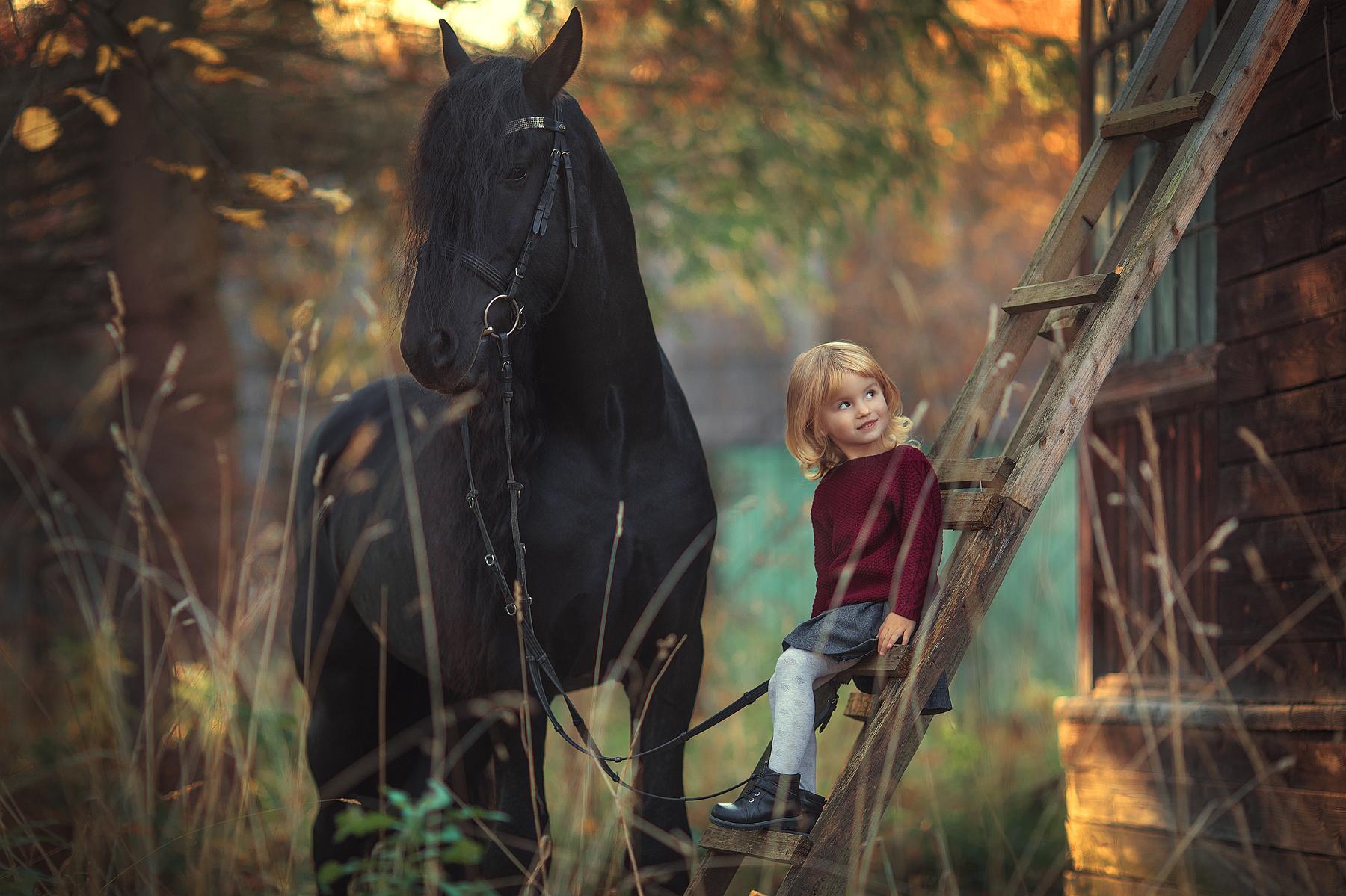 Фото Девочка сидит на лестнице и рядом с ней стоит лошадь. Фотограф Анюта Онтикова