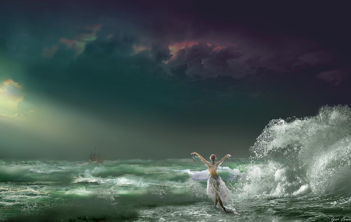 Девушка стоит на фоне шторма. Фотограф Igor Zenin