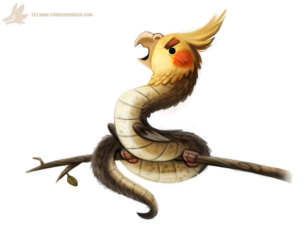 Фото Змей-попугай на ветке, by Cryptid-Creations