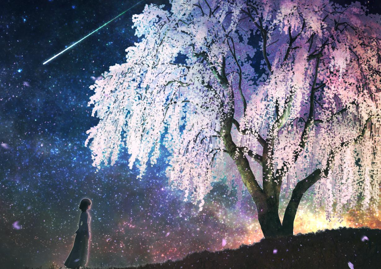 Фото Девушка стоит перед цветущим деревом ночью, by Kupe