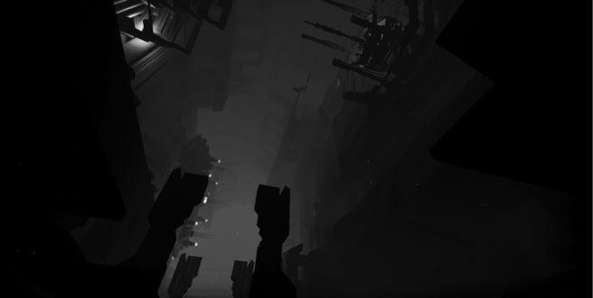 Фото Огромное подземное сооружение, изображенное на черно-белом фоне и на фоне плотного тумана, из-за которого было сложно, что-то разглядеть, как нижние уровни, где была в основном темнота, так и всю обстановку вокруг этого сооружения, кроме верхних уровней и этажей, где освещалось белым светом / Из игры EGO