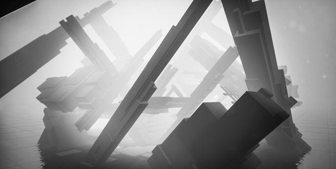 Фото Огромное сооружение, на сером фоне и на фоне небольшого слоя тумана, построенное из различной формы блоков, стоящее на ровной, слегка затопленной водой поверхности, и уложенной одинаковой формы квадратных панелей / Из игры EGO