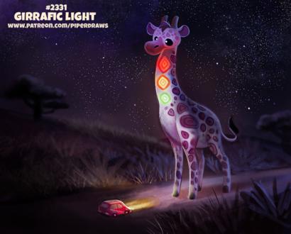 Фото Жираф-светофор под ночным небом напротив машины (Girrafic Light), by Cryptid-Creations