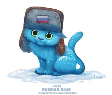 Фото Синий кот в шапке-ушанке сидит на снегу (Russian Blue), by Cryptid-Creations