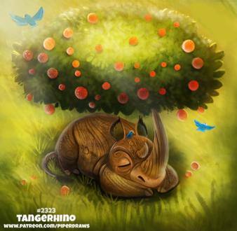 Фото Трицератопс апельсиновое дерево (Tangerhino), by Cryptid-Creations