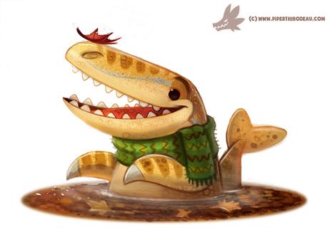 Фото Осенний динозаврик в воде, by Cryptid-Creations