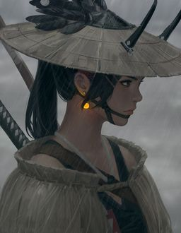 Фото Девушка в шляпе, с сияющей сережкой в ухе, стоит под дождем, by guweiz