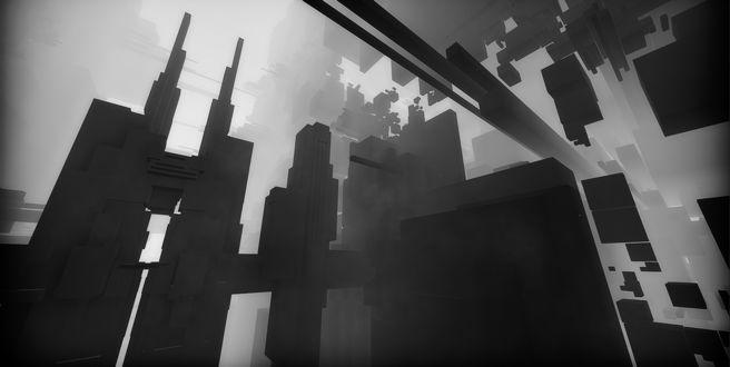Фото Огромное сооружение, построенное из различной формы блоков, изображенное на сером фоне и на фоне тумана, из-за которого частично невозможно разглядеть обстановку вокруг / Из игры EGO