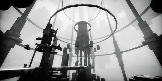 Фото Огромная механическая конструкция, изображенная на черно-белом фоне, на фоне строения-колодца, а также на фоне большого густого тумана, из-за которого невозможно разглядеть обстановку за пределами данного строения / Из игры EGO