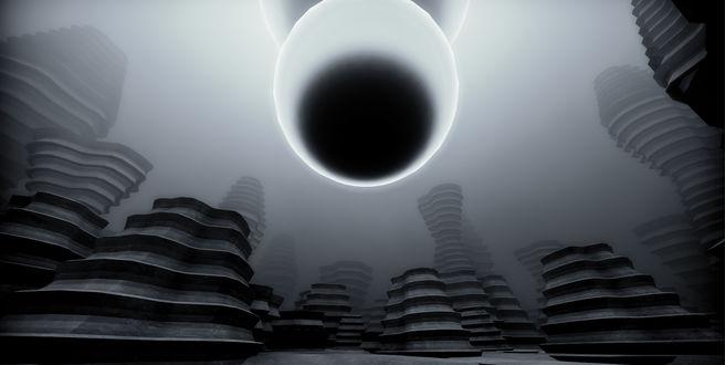 Фото Сверхгигантский электрогенератор изображенный на сером фоне и на фоне легкой туманности, которая частично ухудшила видимость обстановки вокруг / Из игры EGO