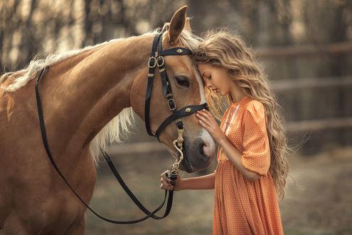 Фото Девочка стоит рядом с лошадью. Фотограф Анюта Онтикова
