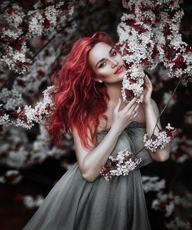Фото Девушка стоит у цветущего весеннего дерева, фотограф Светлана Беляева