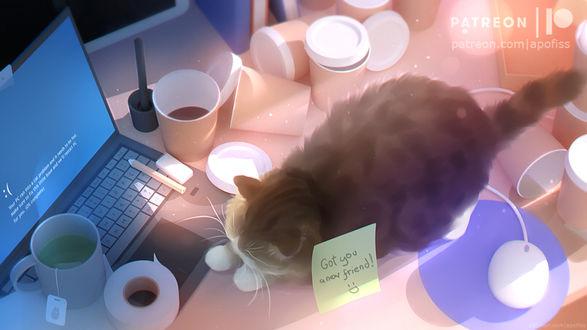 Фото Кошка спит на компьютерном столе, by Apofiss (Got you a new friend!)