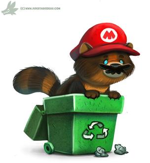 Фото Енот в образе Mario Bros / Марио Брос из игры Super Mario Galaxy, by Cryptid-Creations