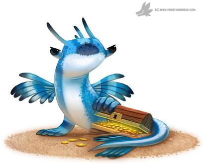 Фото Синий дракончик с сундуком золота, by Cryptid-Creations