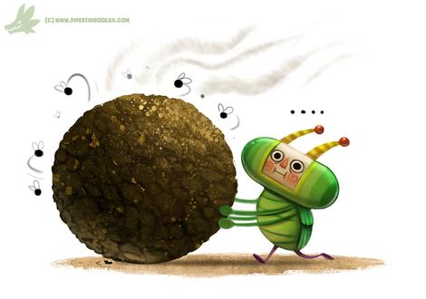 Фото Зеленый жук катит шарик, by Cryptid-Creations