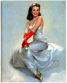 Фото Кокетливая брюнетка в белом платье и красных перчатках в стиле pin -up / пин-ап, by Gil Elvgren